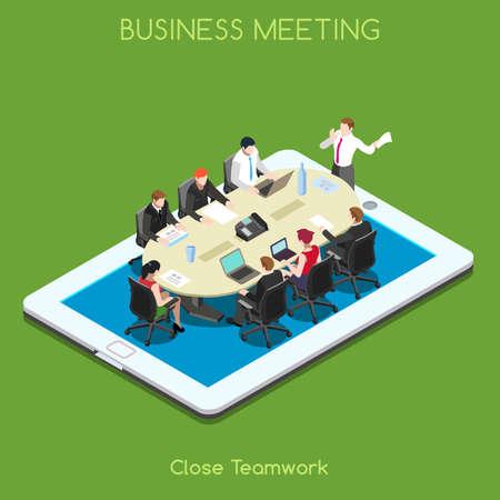 スタートアップ チームワーク ブレーンストーミング タブレット仮想会議室。相互作用する人々 ユニークな等尺性リアルなポーズ。新しい明るいパ