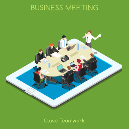 business teamwork: Startup Teamwork Brainstorming Tablet Virtual Meeting Room. Interacting People Unique Isometric Realistic Poses. NEW bright palette 3D Flat Vector Icon Set. Staff who Work Remotely