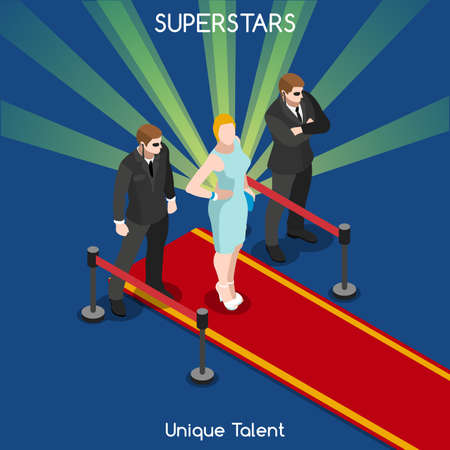 famous people: Superstar or Starlet Famous Female Young Girl with Bodyguards. Interacting People Unique Isometric Realistic Poses. NEW bright palette 3D Flat Vector Icon Set. Red Carpet Unique Talent Show