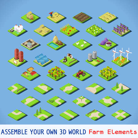 farmlands: City Map Elements COMPLETE and TESTED Set. NEW bright palette 3D Flat Vector Icon Set. Agriculture Rural Farm Building Elements Farmland Isolated Vector Collection. Assemble Your Own 3D World