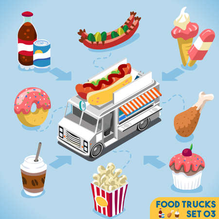 food: Food Collection Modular Food Truck. Food Delivery Master. Street Food Chef Web Template. NEW Flat 3d Isometric Vector Food Truck Set. Full of Taste and High Quality Dishes Alternative Street Cuisine