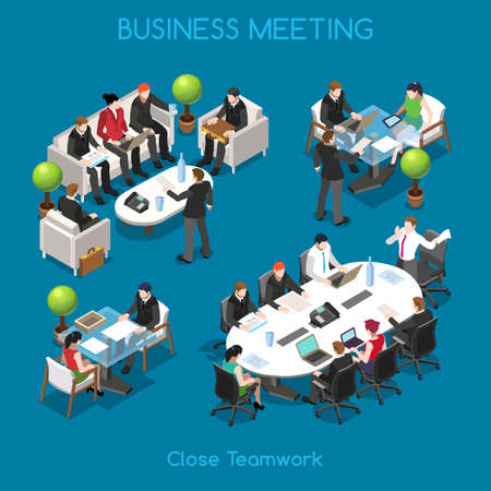 table set: Startup Teamwork Brainstorming Business Office Meeting Room. Interacting People Unique Isometric Realistic Poses. NEW bright palette 3D Flat Vector Icon Set. Team around table working with laptop