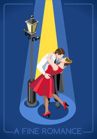 romantic sex: Lovers Couple Romantic Love Concept. Interacting People Unique Isometric Realistic Poses. NEW bright palette 3D Flat Vector Illustration. True Love in Paris French Kiss Under a Streetlight