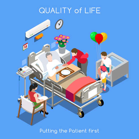 care: Healthcare Quality of Life as First Aim. QoL as First Care. Patien Disease Hospitalization Medical Insurance Hospital. Patient with his Family and Friends. NEW bright palette 3D Flat Vector People Set