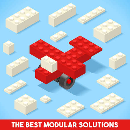 solution: The Best Modular Solutions. Isometric Basic Plane Collection. Plastic Toy Blocks and Tiles Set. HD Quality Colorful and Bright Vector Illustration for Webapps Web Advertising Template Logo or Banner
