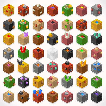 constructor: 3D plana isométricos Mine Cubos Treasure Box Gem Kit Piedra Rubí Zafiro Oro Diamante Lava Charco Elementos Icon Collection Set Mega para aplicación web de Game Builder. Construya su propio mundo Vectores