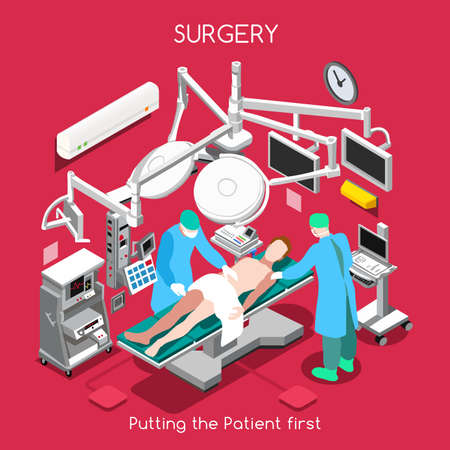 patient in hospital: Surgery Department. Patient as First Aim. Disease Hospitalization Medical Insurance Hospital. Plastic Surgery Operating Theatre with Surgeon Medical Staff. NEW bright palette 3D Flat Vector People Illustration