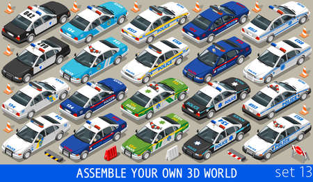 own: Police Department Cars MEGACOLLECTION. Flat 3d Isometric City Service Transport Icon Set. Assemble Your Own 3D World Web Infographic Collection.