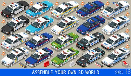 Police Department Cars MEGACOLLECTION. Wohnung isometrischen 3D City Service Transport Icon Set. Bauen Sie Ihre eigene 3D World Web Infografik-Sammlung. Vektorgrafik