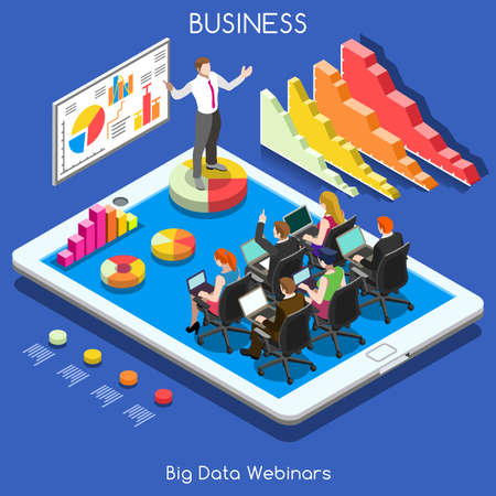 Remote Meeting Corporate Webinars. Interacting People Unique Isometric Realistic Poses. NEW bright palette 3D Flat Vector Icon Set. Webinar Online Web Conference Lecture and Training App for Tablet