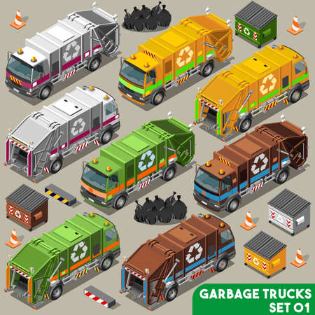 Garbage Truck Collection. NEW bright palette 3D Flat Vector Icon Set. Isometric Colorful Vehicle Fleet of Sanitation Department or Recycling Industry Ilustracja
