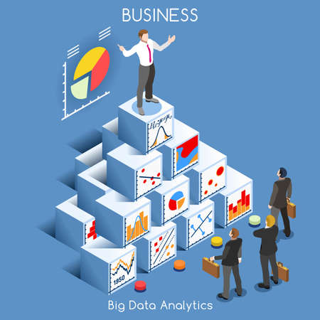 information management: Big Data Analytics Data Mining. Interacting People Unique Isometric Realistic Poses. NEW bright palette 3D Flat Vector Icon Set. Statistics Concept. A Man Speaking on Top of a Graph Pile of Cubes