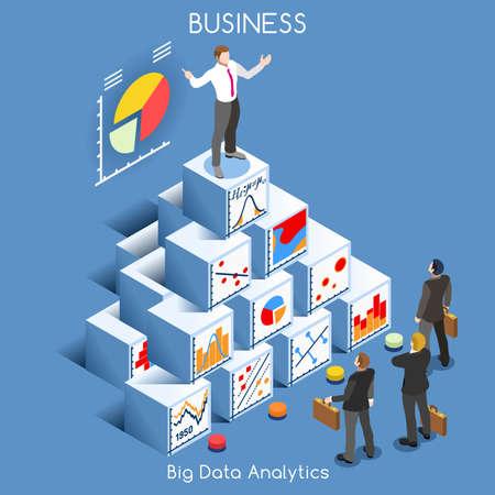Big Data Analytics Data Mining. Interacting People Unique isometrische Realistische Poses. NEW heldere palette 3D Flat Vector Icon Set. Statistieken Concept. Een mens die op Top van een grafiek Stapel Kubussen