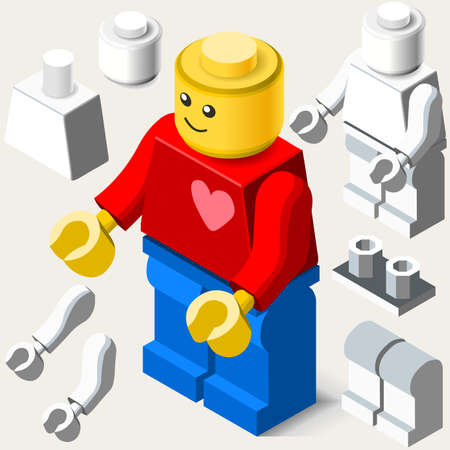 young boy smiling: Toy Block Man Basic Toy Character with Customizable Modular Body. Smiling Happy Young Boy with Red Shirt and a Big Heart