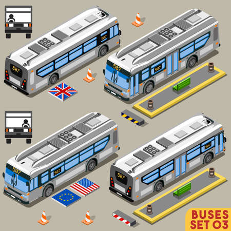 bus anglais: Transport Left Hand Drive Ville Bus Line véhicule long New Bright Palette 3D plat Vector Icon Set. Intercity School Tour Bus. Assemblez votre collection isométrique World Web Infographie propre Illustration