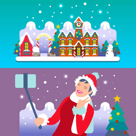 ho: Young Girl Selfie at Christmas Town. Flat Colorful and Bright Vector Illustration. Urban and Village landscape Banner. Camera and Selfie Stick for a Charming Smile. HO HO HO Merry Christmas