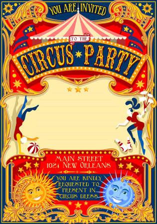 carnaval: Tale of Tales Vous êtes invités à la Cour des Miracles. Carnaval de cirque coloré Retro Vintage template pour votre Happy Party Fou Illustration