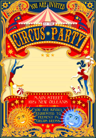 cartoon park: Tale of Tales You are Invited to The Court of Miracles. Circus Carnival Colorful Retro Vintage Template for your Happy Crazy Party
