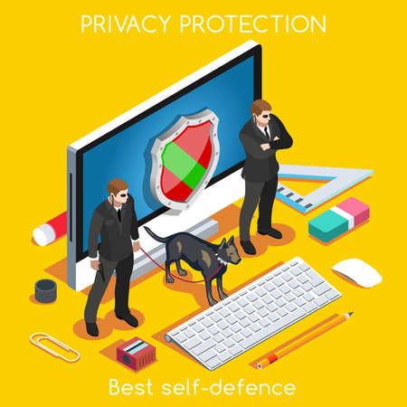 Protección de dispositivos. NUEVA gama de colores brillantes 3D Set Vector plana. Protección de la Privacidad de Datos de Seguridad Antivirus Firewall Criptografía Smartphone cifrado interfaz de seguridad Nube Internet Security Infografía Ilustración de vector