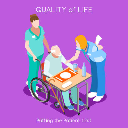 quality: Healthcare Quality of Life as First Aim. QoL as First Care. Patient Disease Hospitalization Medical Insurance Hospital. Old Patient with Nurse Staff. NEW bright palette 3D Flat Vector People