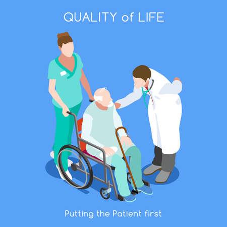 Lebensqualität im Gesundheitswesen als erstes Ziel. Lebensqualität als Erstversorgung. Patientenkrankheit Krankenhausaufenthalt Krankenversicherung Krankenhaus. Alter Patient mit Arztpersonal. NEUE helle Palette 3D flache Vektor-Leute