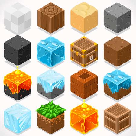 jeu: 3D isométriques plat mines Cubes HD Starter Kit Ground Water Fer charbon Herbe Rocher Glace Sable Bois Pierre Elements Icon Collection Mega Set pour Builder Artisanat. Construisez votre propre monde Illustration
