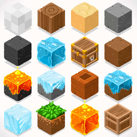 cubo: 3D plana isométricos Mine Cubos HD Starter Kit Agua Subterránea Hierro Carbón Hierba Rock Ice Arena Madera Piedra Elementos Icon Collection Set Mega para Builder Craft. Construya su propio mundo Vectores