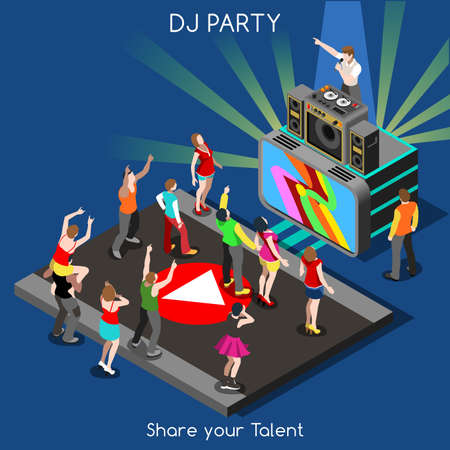 dj: Just Dance Disco DJ Party. Interacting People Unique Isometric Realistic Poses. NEW bright palette 3D Flat Vector Set. DJ Performance Indie Music Dee-Jay Database. Share your Talent Illustration