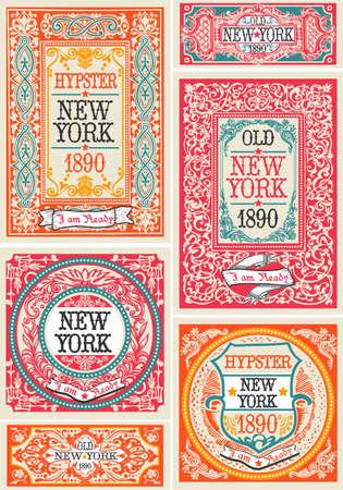 pergamino: Hipster con estilo vintage Publicidad diseños y etiquetas Mega Collection. Elementos de múltiples capas. Retro alta calidad Conjunto de tarjetas. Vectores