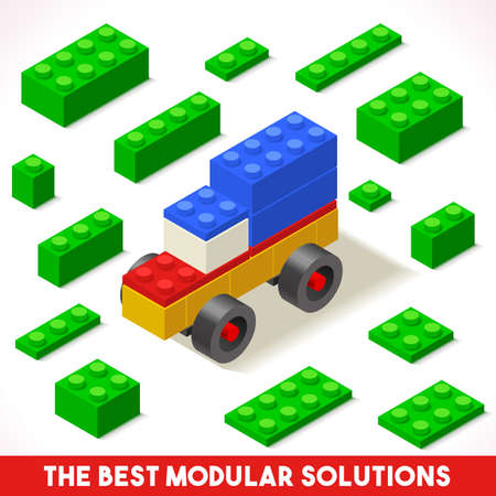 solution icon: The Best Modular Solutions. Isometric Basic Car Collection. Plastic Toy Blocks and Tiles Set. HD Quality Colorful and Bright Vector Illustration for Webapps Web Advertising Template Logo or Banner Illustration