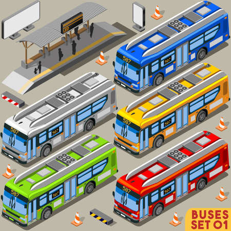 intercity: High Quality City Bus Line Long Vehicle Transport NEW Bright Palette 3D Flat Vector Icon Set. Intercity Tour School Bus. Assemble Your Own Isometric World Web Infographic Collection Illustration