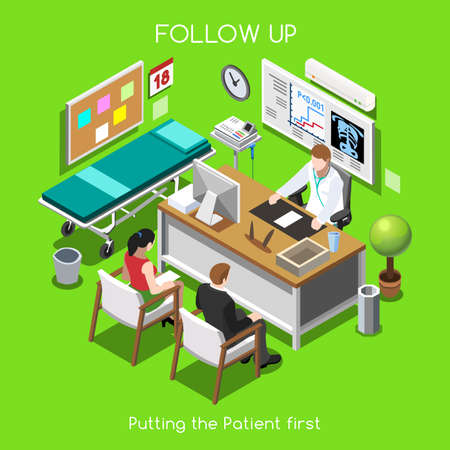 patient in hospital: Clinic Follow Up. Patien Disease Medical Assistance Insurance Hospital. Couple Patient with Physitian Medical Staff. NEW bright palette 3D Flat Vector People Illustration