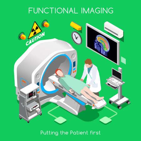 hospital dibujo animado: Diagnóstico y Terapéutica del Departamento de Imagenología del Hospital. Paciente como primer objetivo. Hospital de PET Scan Cáncer Enfermedad de Seguros. NUEVO brillante paleta plana 3D Vector personas Set Vectores