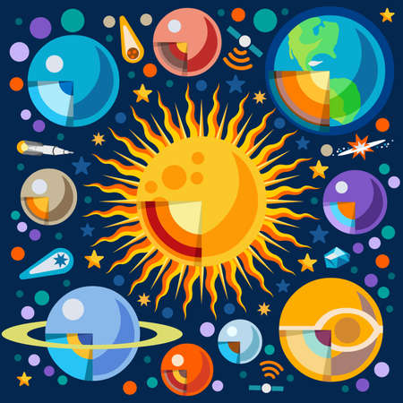 frontiers: New Horizons of the Solar System Infographic. NEW bright palette 3D Flat Vector Icon Set Cutaway Planets Pluto Venus Uranus Jupiter Saturn Universe Around the Sun Concept