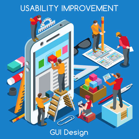 GUI design Smartphone App UI UX Improvement. Interacting People Unique Isometric Realistic Poses. NEW bright palette 3D Flat Vector Concept. Team Creating Great Web Graphic User Interface