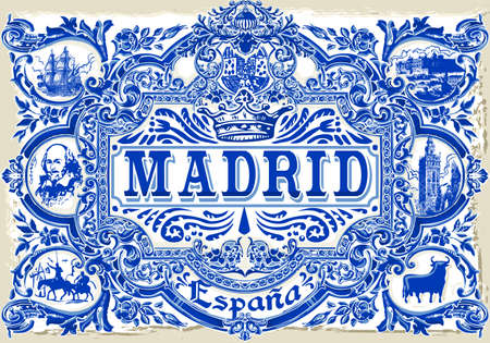 Detailed Traditional Painted Tin Glazed Ceramic Tilework Azulejos Vintage Spanish Tiles Vector Illustration Madrid Spain Çizim