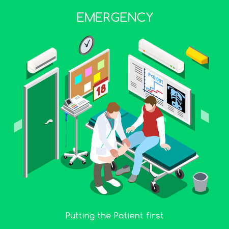 patient in hospital: Emergency Care and Traumatology Department. The Best First Aid. Patient Disease Hospitalization Medical Insurance Hospital. Adult Patient and Doctor. NEW bright palette 3D Flat Vector People