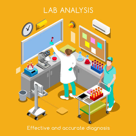Healthcare Laboratory Blood and Specimen Service Services. Hospital Lab Departments Blood Bank Chemistry Hematology Pathology Migrobiology Staff. NEW bright palette 3D Flat Vector People Иллюстрация