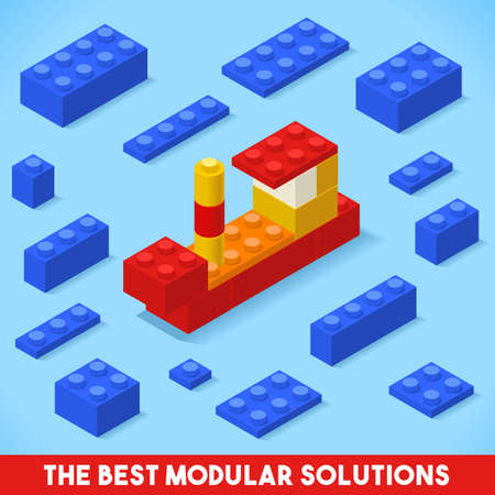 web icon: The Best Modular Solutions. Isometric Basic Ship Collection. Plastic Toy Blocks and Tiles Set. HD Quality Colorful and Bright Vector Illustration for Webapps Web Advertising Template Logo or Banner