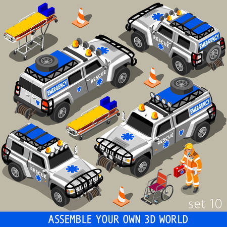 paramedic: Ambulance White Rescue SUV Vehicle. NEW bright palette 3D Flat Vector Icon Set. First Aid Equipment and Paramedic Man. Assemble your Own 3D World