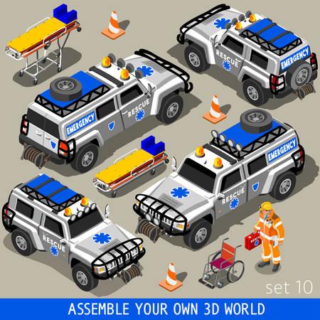 ambulancia: Ambulancia rescate blanco SUV veh�culo. NUEVA gama de colores brillantes 3D Vector Icon Set plana. Equipo de primeros auxilios y param�dico hombre. Arme su propio mundo 3D