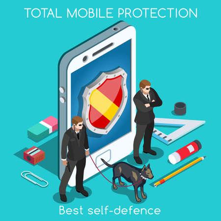 privacidad: Protección móvil. NUEVA gama de colores brillantes 3D Set Vector plana. Protección de la Privacidad de Datos de Seguridad Antivirus Firewall Criptografía Smartphone cifrado interfaz de seguridad Nube Internet Security Infografía