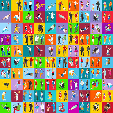 People Flat Icons Set: Vector Illustration, Graphic Design. Collection Of Colorful Icons. For Web Websites Print Presentation Templates Mobile Applications And Promotional Materials Illustration