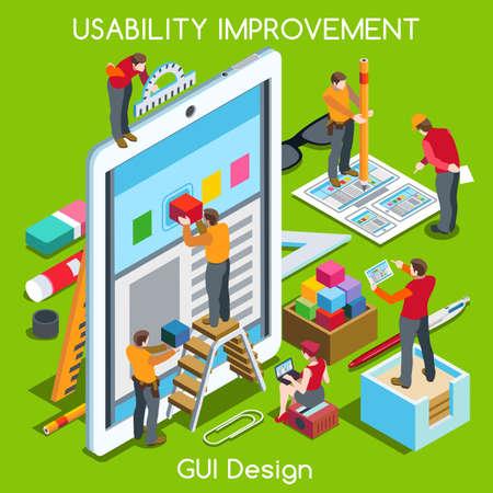 isometrico: Diseño GUI Tablet App UI UX Mejora. Interacción Gente único isométrica Poses realistas. NUEVA gama de colores brillantes 3D Concept Vector plana. Equipo de Creación de Gran Gráfico Web User Interface
