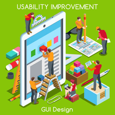 user: GUI design Tablet App UI UX Improvement. Interacting People Unique Isometric Realistic Poses. NEW bright palette 3D Flat Vector Concept. Team Creating Great Web Graphic User Interface Illustration
