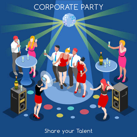 Corporate Party Team Selfie Informal Event. Interacting People Unique Isometric Realistic Poses. NEW bright palette 3D Flat Vector Set. Human Resources Development
