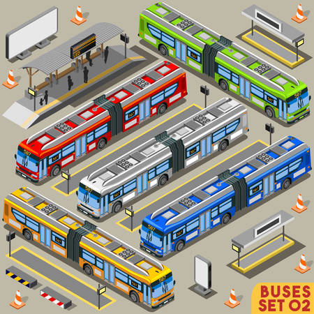 intercity: High Quality City Articulated Bus Line Long Vehicle Transport NEW Bright Palette 3D Flat Vector Icon Set. Intercity Tour School Bus. Assemble Your Own Isometric World Web Infographic Collection Illustration