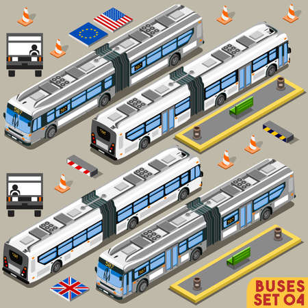 intercity: Left Hand Drive Articulated City Bus Line Long Vehicle Transport NEW Bright Palette 3D Flat Vector Icon Set. Intercity Tour School Bus. Assemble Your Own Isometric World Web Infographic Collection Illustration