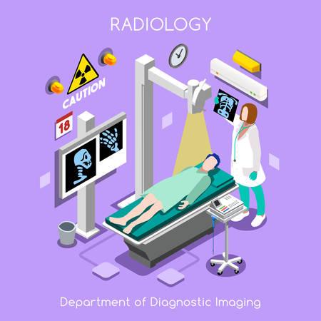 resonancia magnetica: Diagnóstico y Terapéutica del Departamento de Imagenología del Hospital. Paciente como primer objetivo. Seguro de Hospital RX TAC MRI Enfermedades. NUEVO brillante paleta plana 3D Vector personas Set Vectores