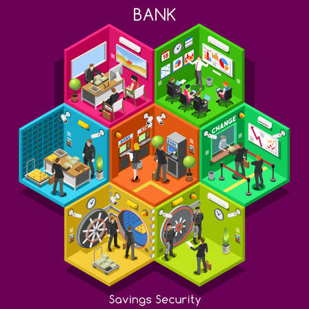 Bank Savings Financial Security Infographics. NEW Bright Palette 3D Flat Vector Icon Set. Interior Room ATM Vault Customer Client Office Staff Concept. Depository Vault Banking Credit Investments Vettoriali
